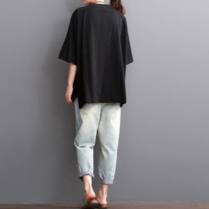 Black summer women cotton shirt blouse plus size top