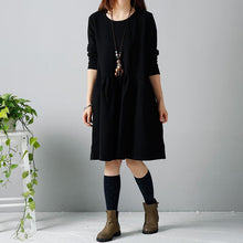 Load image into Gallery viewer, Black winter dresses long sleeve shift dress