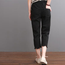 Load image into Gallery viewer, Black women summer pants crop trousers