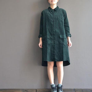 Blackish green casual dresses plus size corduroy pockets shirt dress