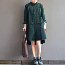 Load image into Gallery viewer, Blackish green casual dresses plus size corduroy pockets shirt dress