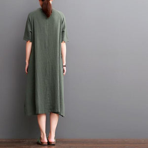 Blackish green linen dress plus size linen sundresses maxi dress