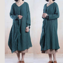 Load image into Gallery viewer, Blackish green linen dresses  fall dresses unique outfit