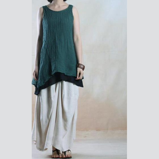 Blackish green summer linen tank tops oversize layered