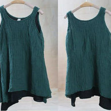 Laden Sie das Bild in den Galerie-Viewer, Blackish green summer linen tank tops oversize layered