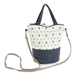 Blue Canvas Round Dot Bucket Bag Hitcolor Crossbody Bag