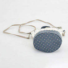 Load image into Gallery viewer, Blue Canvas Round Dot Bucket Bag Hitcolor Crossbody Bag