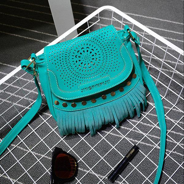 Blue Hollow Out National Style Tassel Crossbody Bag Shoulder Bags For Women
