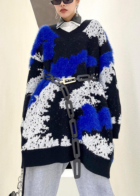 Blue Knitted Pullover V Neck Oversized Spring Knitted Blouse