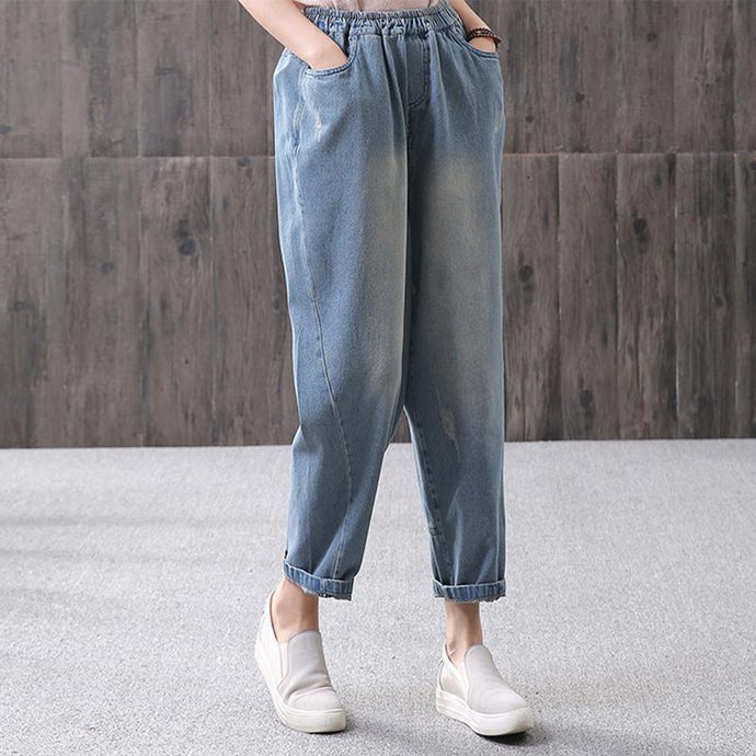 Blue Women cotton Loose Washed Denim Casual Pants