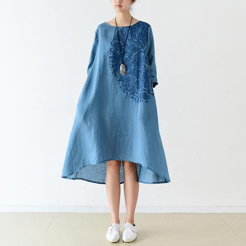 Blue bracelet sleeve linen dresses maternity dress oversized lined