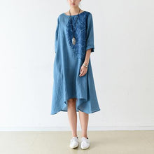 Load image into Gallery viewer, Blue bracelet sleeve linen dresses maternity dress oversized lined