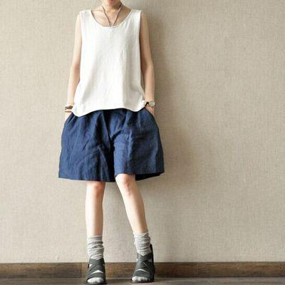 Blue casual linen shorts plus size summer short pants