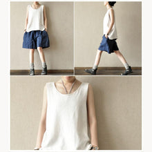 Load image into Gallery viewer, Blue casual linen shorts plus size summer short pants