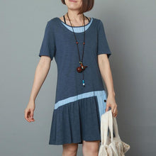 Load image into Gallery viewer, Blue cotton sundress loose summer fit flare dress