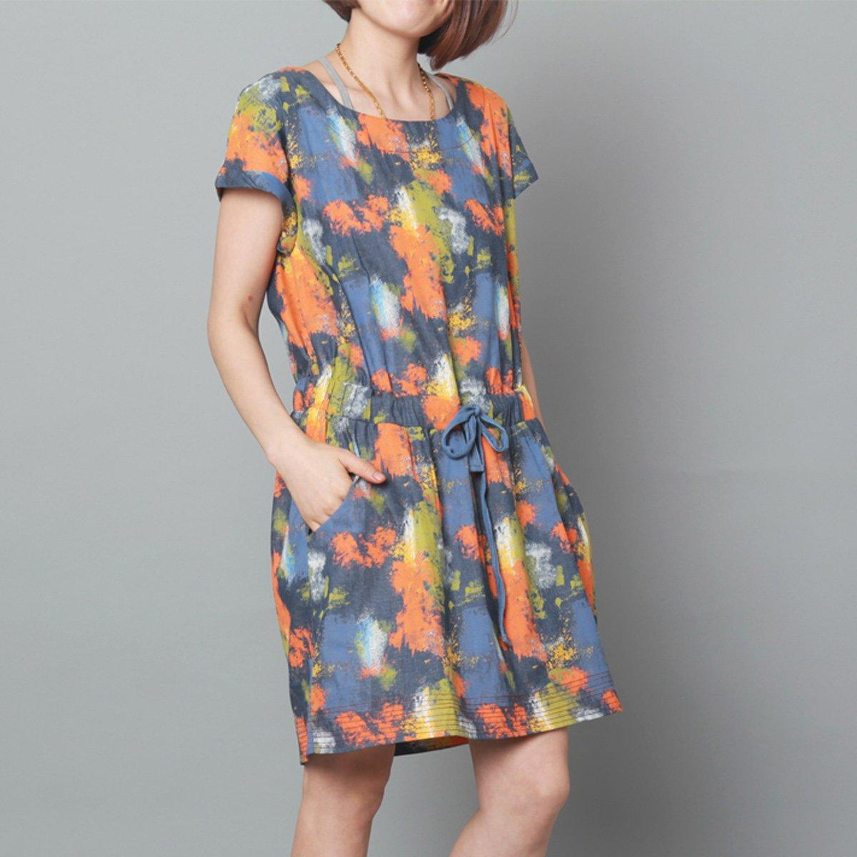 Blue denim sundress oversize print summer denim dress drawstring waist