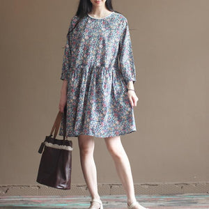 Blue floral cotton dresses bracelet sleeve fit flare dress long sleeve