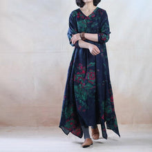 Laden Sie das Bild in den Galerie-Viewer, Blue floral cotton maxi dress long linen dress gown plus size - Blooming garden