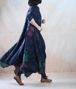 Blue floral cotton maxi dress long linen dress gown plus size - Blooming garden