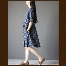 Load image into Gallery viewer, Blue floral cotton sundress plus size fit flare dress half sleeve