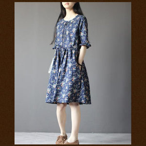 Blue floral cotton sundress plus size fit flare dress half sleeve