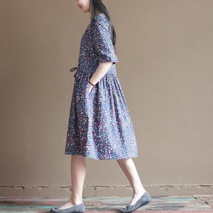 Blue floral fit flare cotton sundress half sleeve pleated dresses