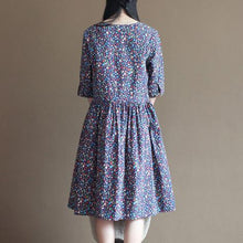 Load image into Gallery viewer, Blue floral fit flare cotton sundress half sleeve pleated dresses