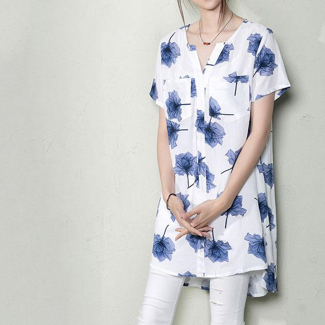 Blue floral plus size shirt dress summer maternity dress New design