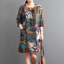 Load image into Gallery viewer, Blue floral shift dresses summer cotton dress causal style