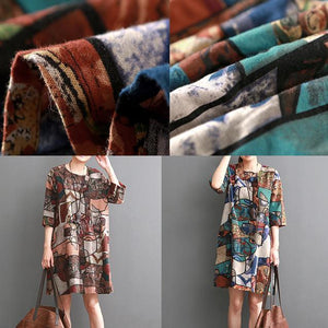 Blue floral shift dresses summer cotton dress causal style