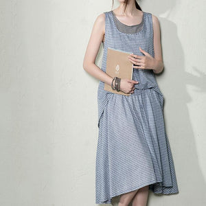Blue grid cotton summer dress long layered maxi dresses maternity dresses layered