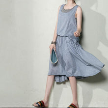 Load image into Gallery viewer, Blue grid cotton summer dress long layered maxi dresses maternity dresses layered
