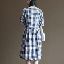 Load image into Gallery viewer, Blue grid cotton sundress half sleeve summer maxi dresses