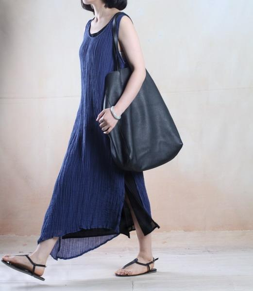 Blue layered linen summer maxi dress Asymmetric holiday dress