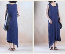 Laden Sie das Bild in den Galerie-Viewer, Blue layered linen summer maxi dress Asymmetric holiday dress