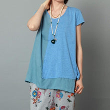 Load image into Gallery viewer, Blue layered women summer shirt short sleeve blouse cotton top
