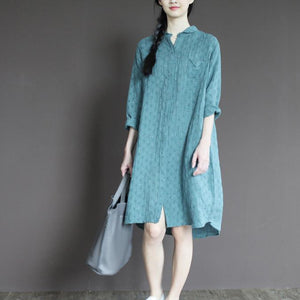 Blue linen half sleeve sundress plus size casual summer shirt dresses