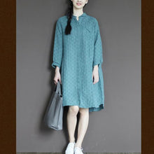 Load image into Gallery viewer, Blue linen half sleeve sundress plus size casual summer shirt dresses