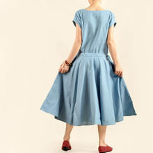 Load image into Gallery viewer, Blue linen maxi dress cotton fit flare dress