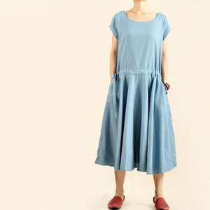 Blue linen maxi dress cotton fit flare dress