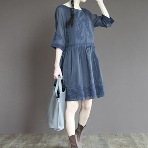 Blue linen sundress emboridered summer dress plus size fit flare dress half sleeve