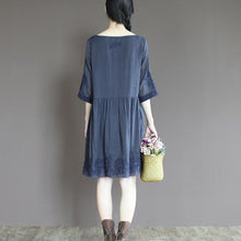 Load image into Gallery viewer, Blue linen sundress emboridered summer dress plus size fit flare dress half sleeve