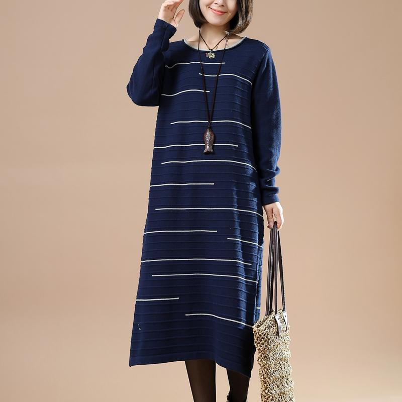Blue long knit traveling dress woman sweaters people coming and going