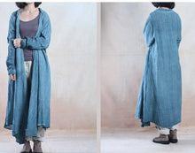 Load image into Gallery viewer, Blue long linen dress maxis cardigan plus size