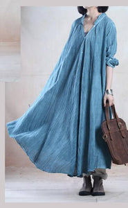 Blue long linen dress maxis cardigan plus size