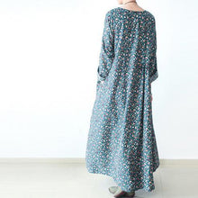 Load image into Gallery viewer, Blue long print cotton dress gown plus size dresses