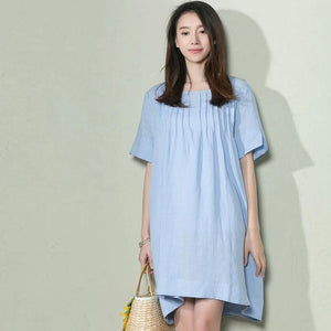 Blue oversize linen sundress plus size maternity holiday dress