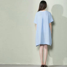 Load image into Gallery viewer, Blue oversize linen sundress plus size maternity holiday dress