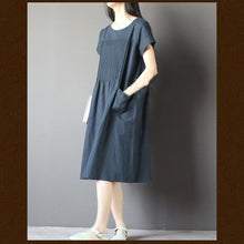 Load image into Gallery viewer, Blue oversize sundress plus size linen shirt dresses