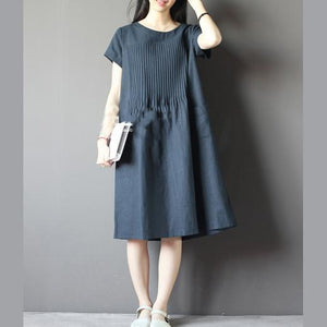 Blue oversize sundress plus size linen shirt dresses